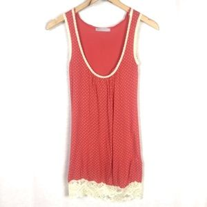 Monteau Red Polka Dot Scoop Neck Tank Top S